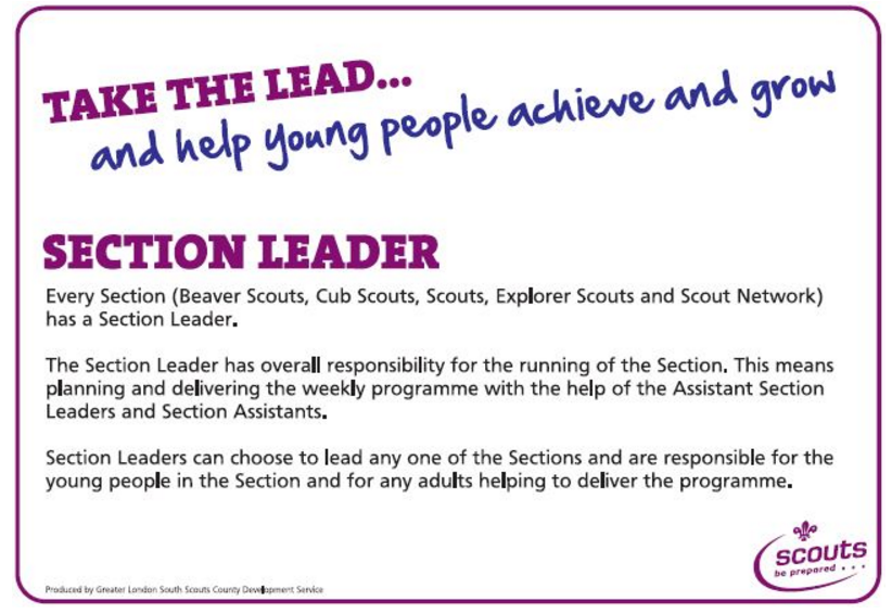 We are opening a new scout section soon, we will need new leaders to help us make it happen